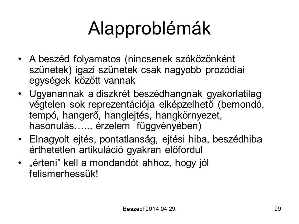 Beszedf 2014.04.29.29 Alapproblémák A beszéd folyamatos (nincsenek szóközönként szünetek) igazi szünetek csak nagyobb prozódiai egységek között vannak