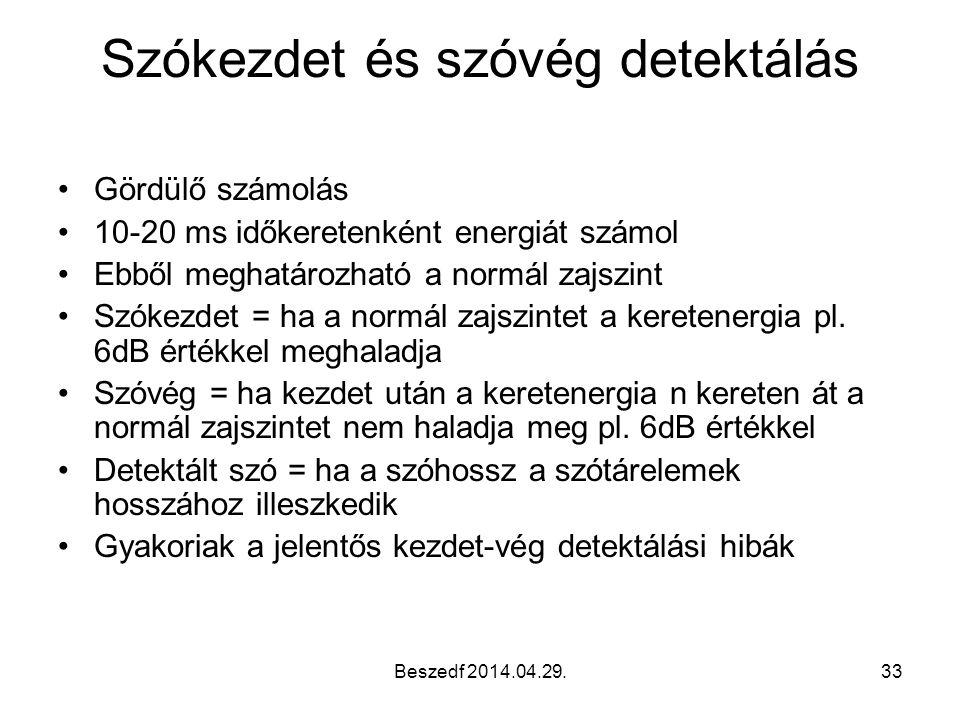 Beszedf 2014.04.29.33 Szókezdet és szóvég detektálás Gördülő számolás 10-20 ms időkeretenként energiát számol Ebből meghatározható a normál zajszint S