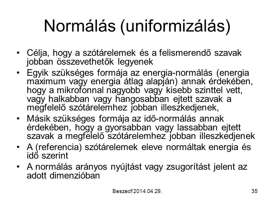 Beszedf 2014.04.29.35 Normálás (uniformizálás) Célja, hogy a szótárelemek és a felismerendő szavak jobban összevethetők legyenek Egyik szükséges formá