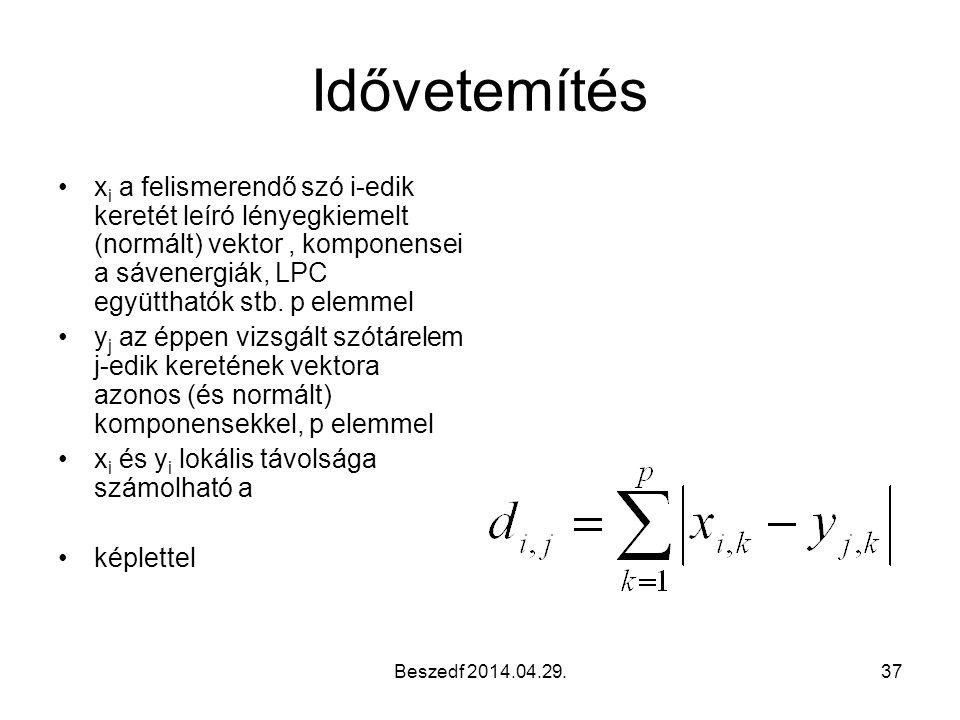 Beszedf 2014.04.29.37 Idővetemítés x i a felismerendő szó i-edik keretét leíró lényegkiemelt (normált) vektor, komponensei a sávenergiák, LPC együtthatók stb.