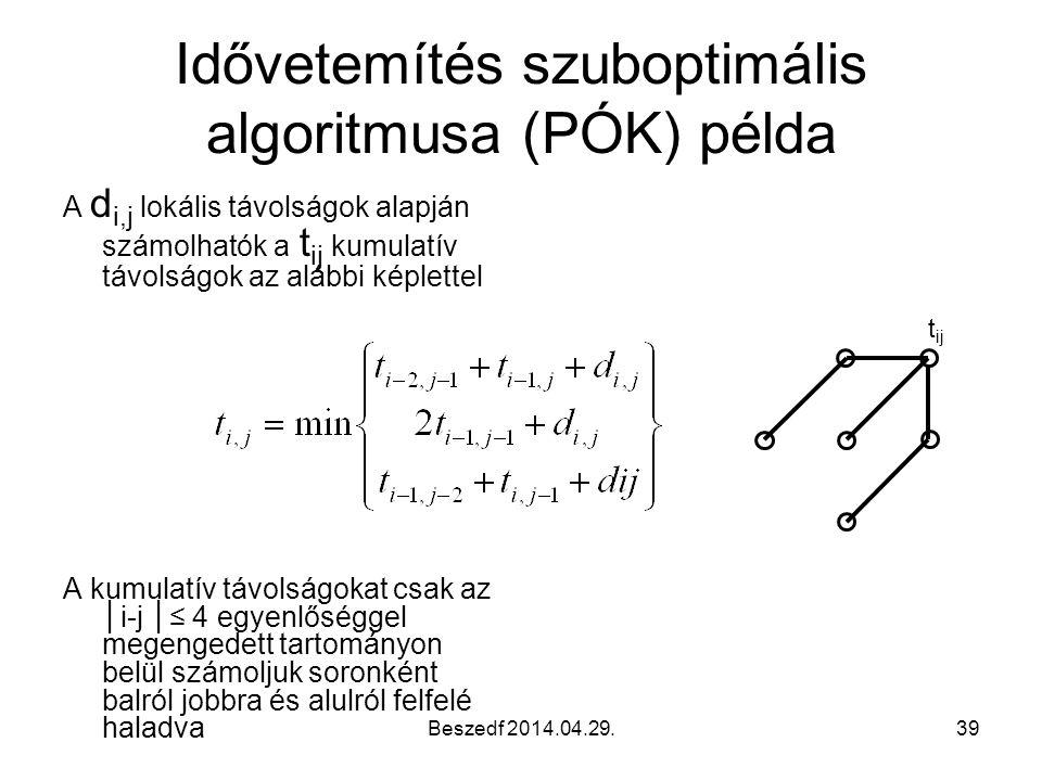 Beszedf 2014.04.29.39 Idővetemítés szuboptimális algoritmusa (PÓK) példa A d i,j lokális távolságok alapján számolhatók a t ij kumulatív távolságok az alábbi képlettel A kumulatív távolságokat csak az │i-j │≤ 4 egyenlőséggel megengedett tartományon belül számoljuk soronként balról jobbra és alulról felfelé haladva t ij