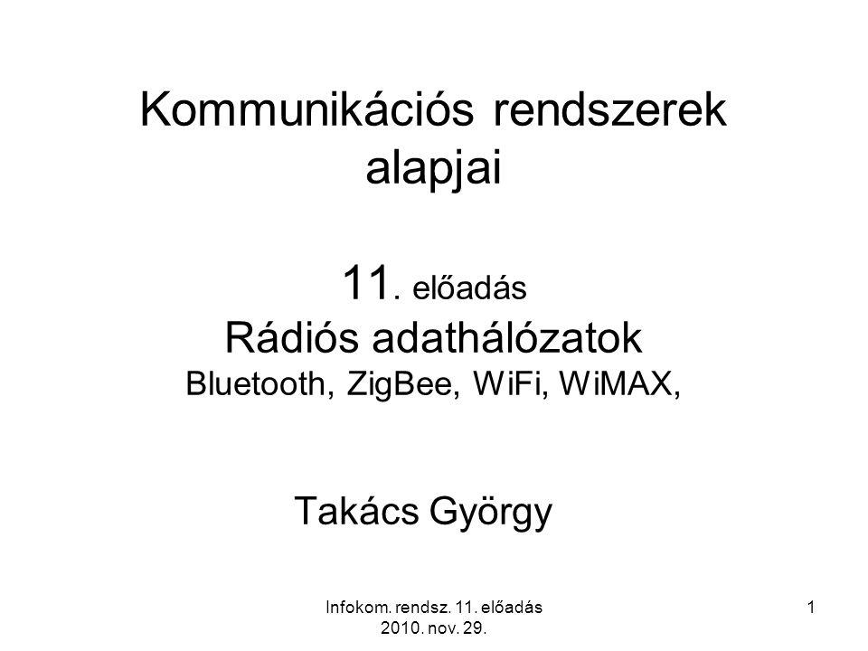 Infokom. rendsz. 11. előadás 2010. nov. 29. 1 Kommunikációs rendszerek alapjai 11.