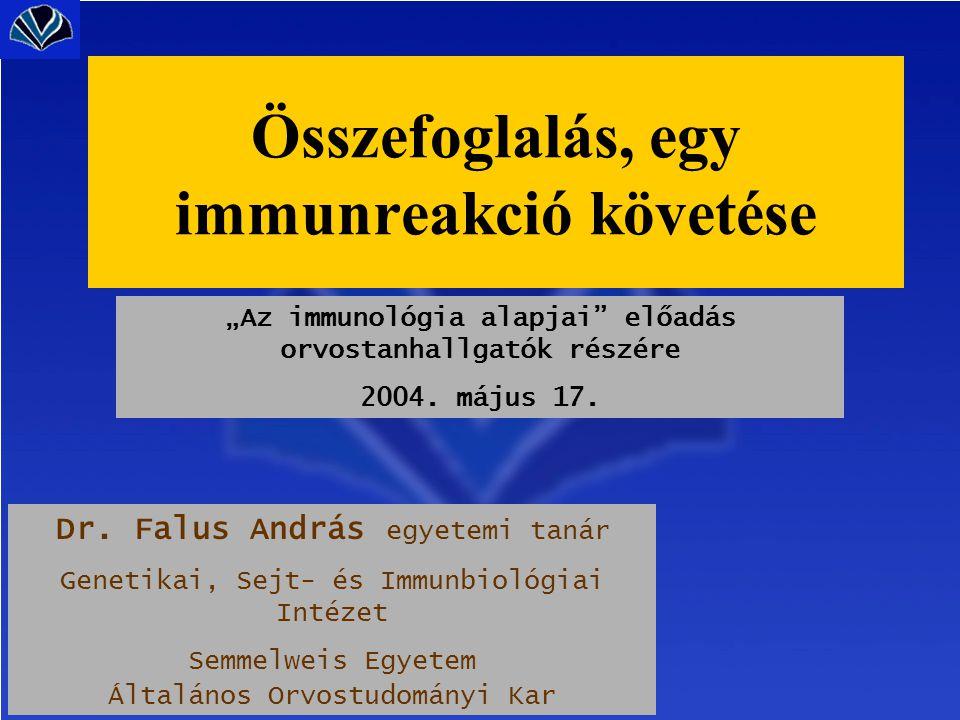 """""""Az immunológia alapjai"""" előadás orvostanhallgatók részére 2004. május 17. Dr. Falus András egyetemi tanár Genetikai, Sejt- és Immunbiológiai Intézet"""