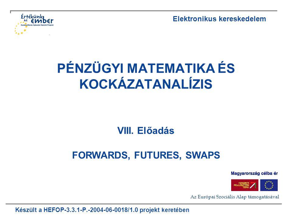 2006 HEFOP 3.3.1-P.-2004-06-18/1.10 2 Tartalom Bevezetés Forward szerződések Tartási költség Szűk piacok Swaps Kamat swap értékelése Futures szerződések Futures árak