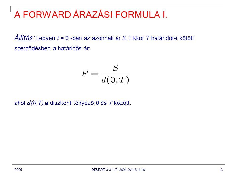 2006 HEFOP 3.3.1-P.-2004-06-18/1.10 12 A FORWARD ÁRAZÁSI FORMULA I.