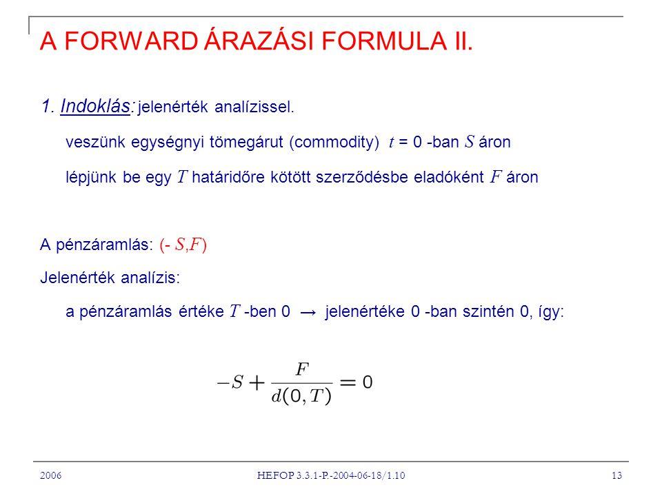 2006 HEFOP 3.3.1-P.-2004-06-18/1.10 13 A FORWARD ÁRAZÁSI FORMULA II.