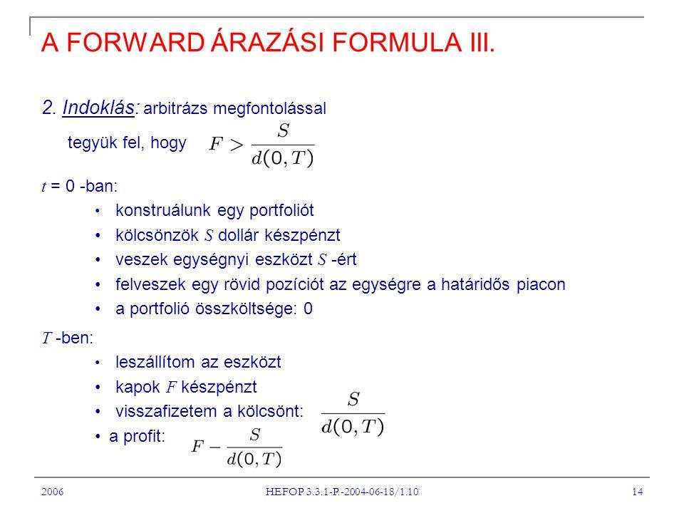 2006 HEFOP 3.3.1-P.-2004-06-18/1.10 14 A FORWARD ÁRAZÁSI FORMULA III.