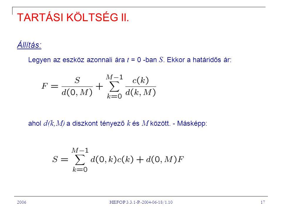 2006 HEFOP 3.3.1-P.-2004-06-18/1.10 17 TARTÁSI KÖLTSÉG II.