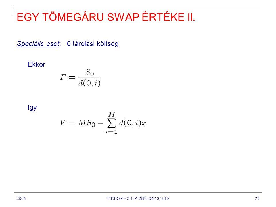 2006 HEFOP 3.3.1-P.-2004-06-18/1.10 29 EGY TÖMEGÁRU SWAP ÉRTÉKE II.