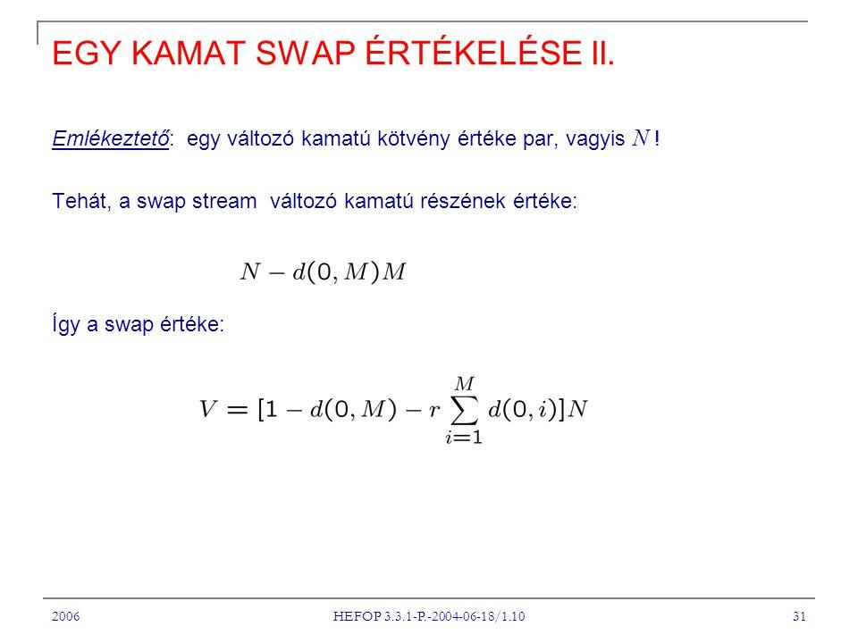 2006 HEFOP 3.3.1-P.-2004-06-18/1.10 31 EGY KAMAT SWAP ÉRTÉKELÉSE II.