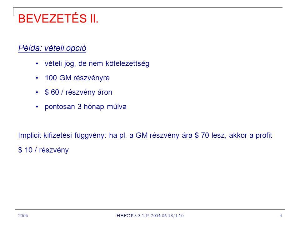 2006 HEFOP 3.3.1-P.-2004-06-18/1.10 25 EGY HATÁRIDŐS SZERZŐDÉS ÉRTÉKE Feltevés: a t = 0 -ban kikötött szállítási ár: F 0 a jelenlegi t időpontban ugyanazon kötelezettségre a szállítási ár: F t Kérdés: mi a szerződés pillanatnyi értéke, f x .
