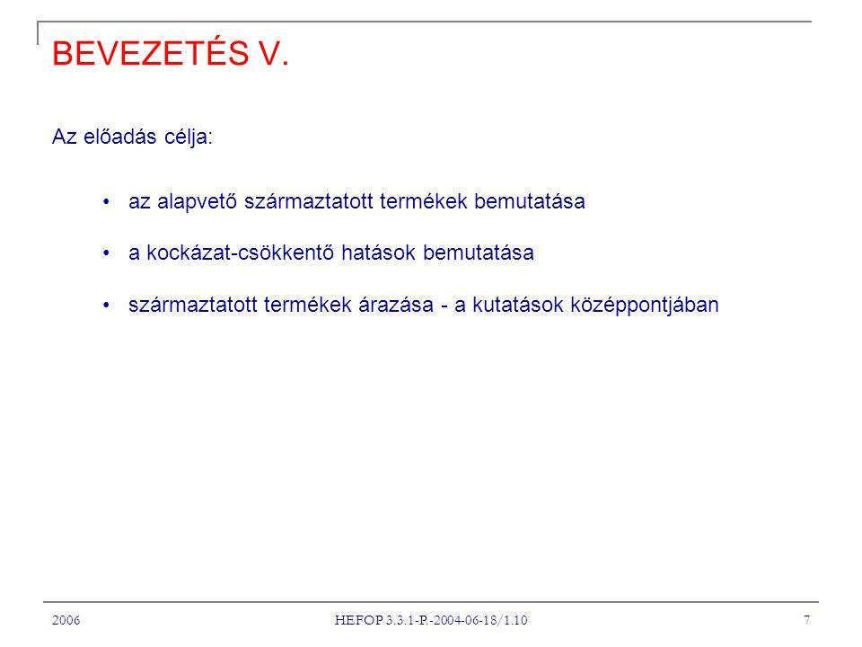 2006 HEFOP 3.3.1-P.-2004-06-18/1.10 18 A FORWARD ÁRAZÁSI FORMULA V.