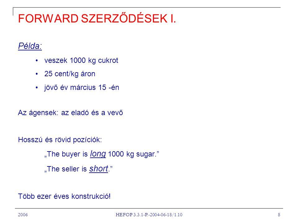 2006 HEFOP 3.3.1-P.-2004-06-18/1.10 19 A FORWARD ÁRAZÁSI FORMULA VI.