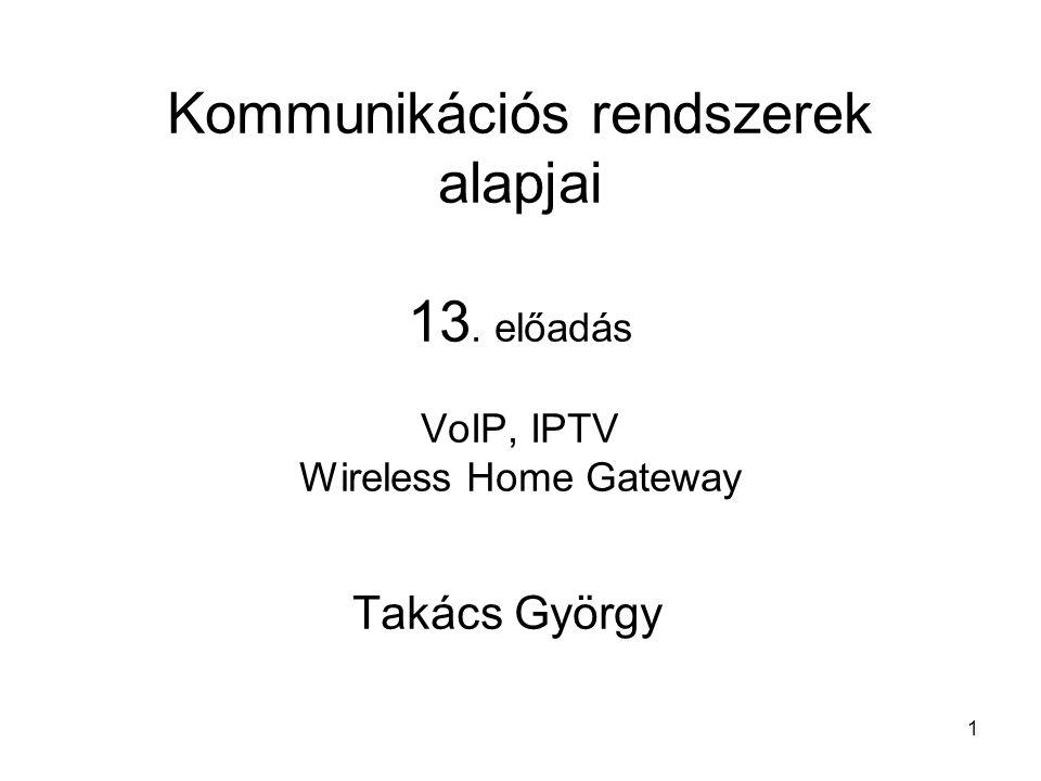 1 Kommunikációs rendszerek alapjai 13. előadás VoIP, IPTV Wireless Home Gateway Takács György