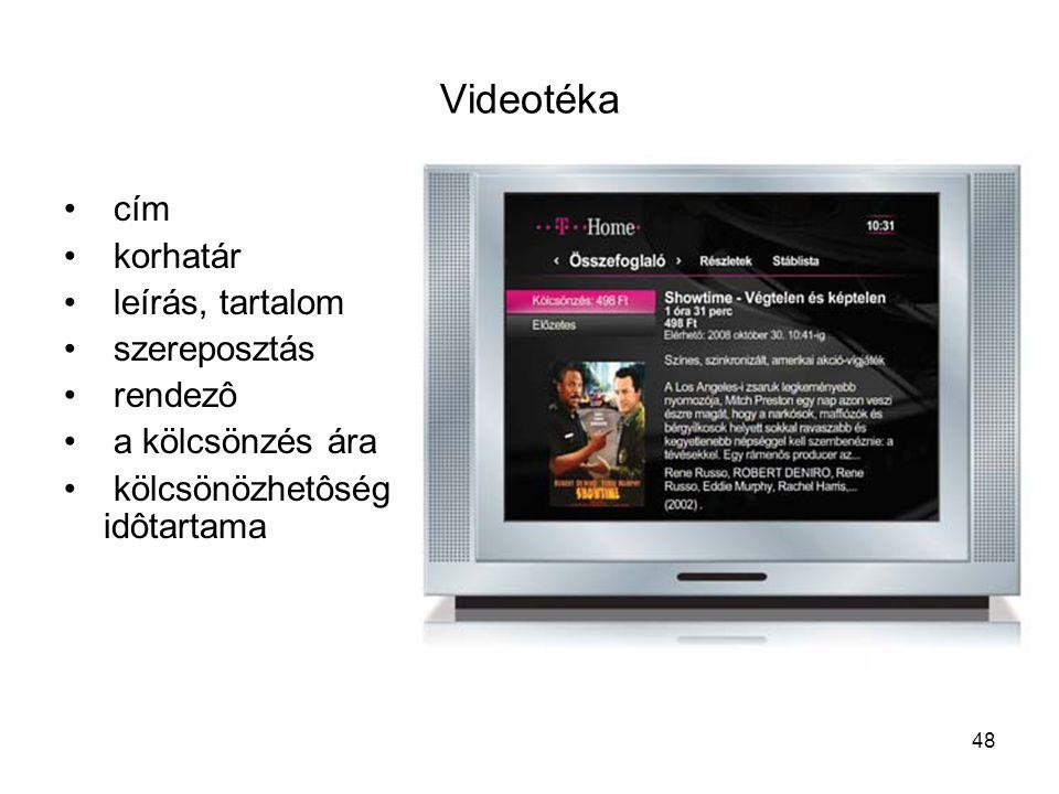 48 Videotéka cím korhatár leírás, tartalom szereposztás rendezô a kölcsönzés ára kölcsönözhetôség idôtartama