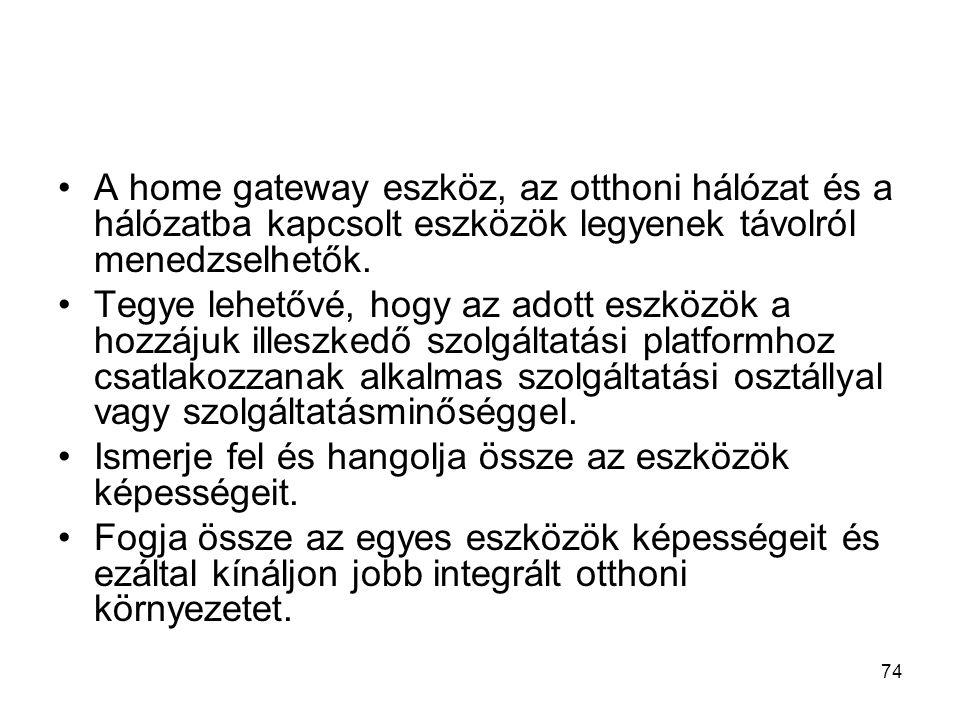 74 A home gateway eszköz, az otthoni hálózat és a hálózatba kapcsolt eszközök legyenek távolról menedzselhetők.