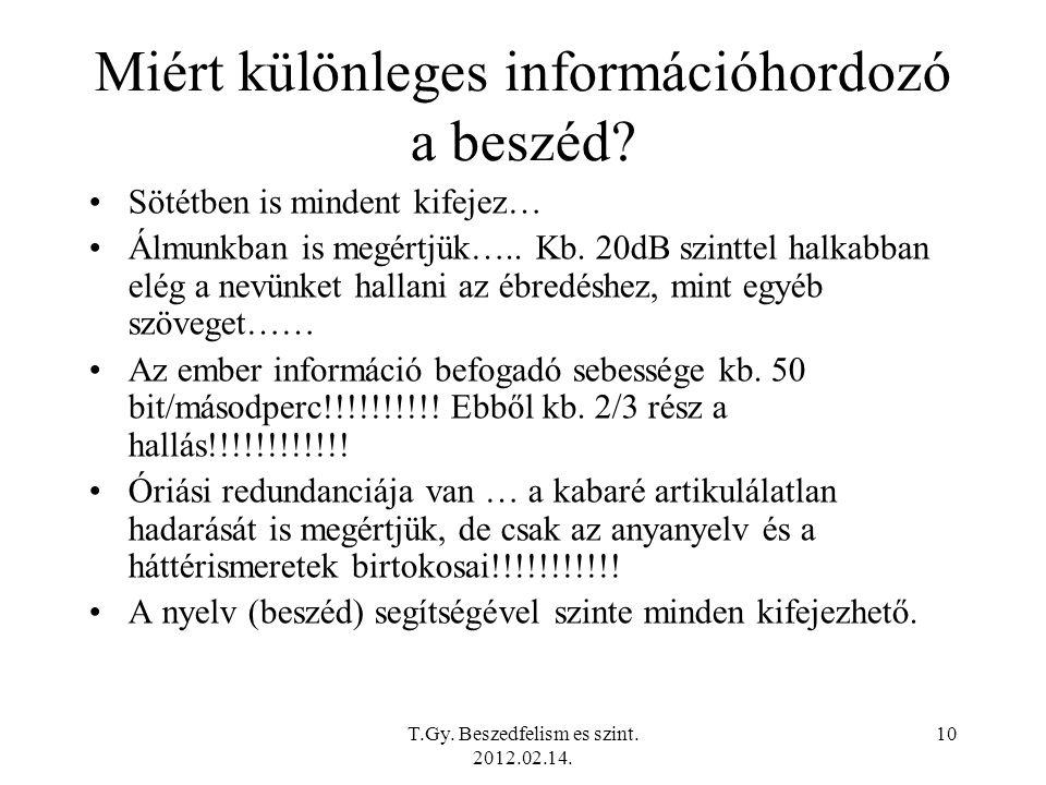 T.Gy. Beszedfelism es szint. 2012.02.14. 10 Miért különleges információhordozó a beszéd.