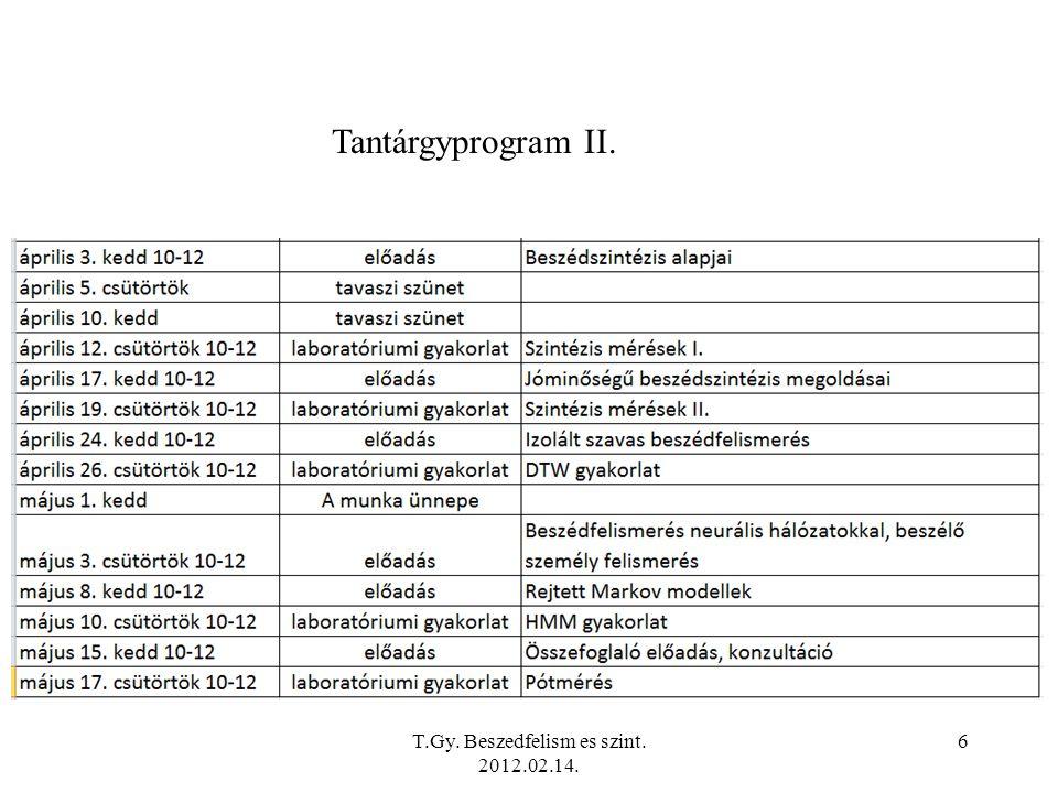 T.Gy.Beszedfelism es szint. 2012.02.14. 7 Tankönyv, jegyzet, segédanyagok….