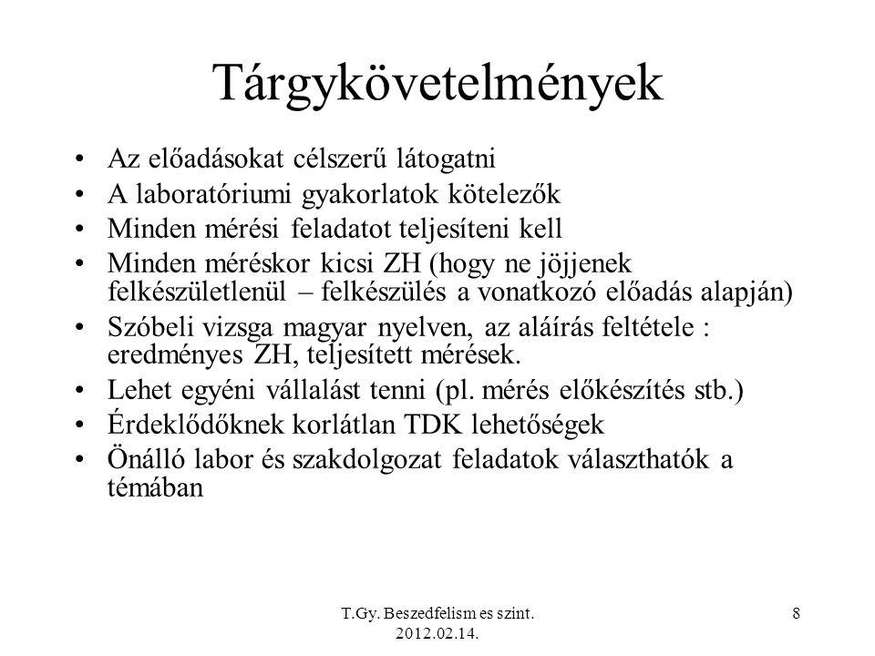 T.Gy. Beszedfelism es szint. 2012.02.14.