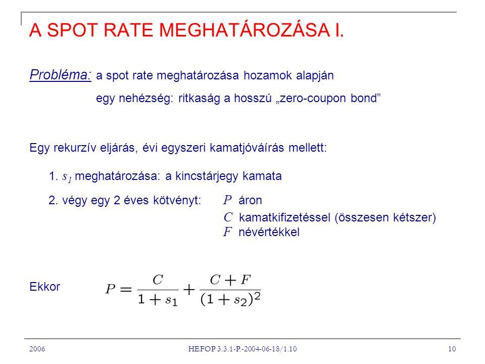 2006 HEFOP 3.3.1-P.-2004-06-18/1.10 10 A SPOT RATE MEGHATÁROZÁSA I.