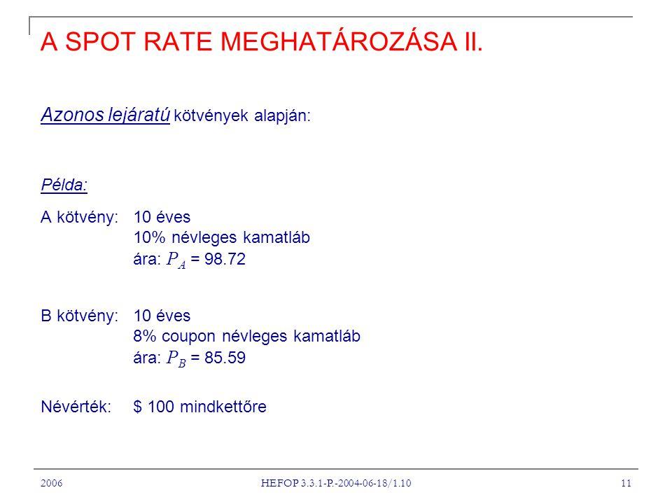 2006 HEFOP 3.3.1-P.-2004-06-18/1.10 11 A SPOT RATE MEGHATÁROZÁSA II.