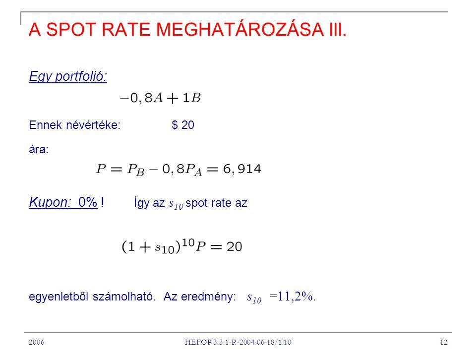 2006 HEFOP 3.3.1-P.-2004-06-18/1.10 12 A SPOT RATE MEGHATÁROZÁSA III.