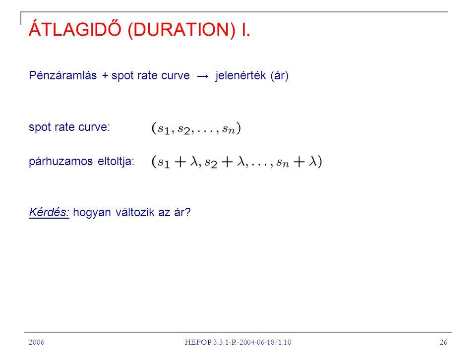 2006 HEFOP 3.3.1-P.-2004-06-18/1.10 26 ÁTLAGIDŐ (DURATION) I.