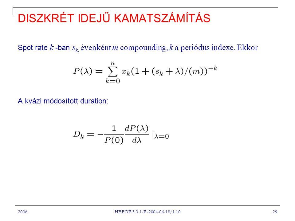 2006 HEFOP 3.3.1-P.-2004-06-18/1.10 29 DISZKRÉT IDEJŰ KAMATSZÁMÍTÁS Spot rate k -ban s k, évenként m compounding, k a periódus indexe.