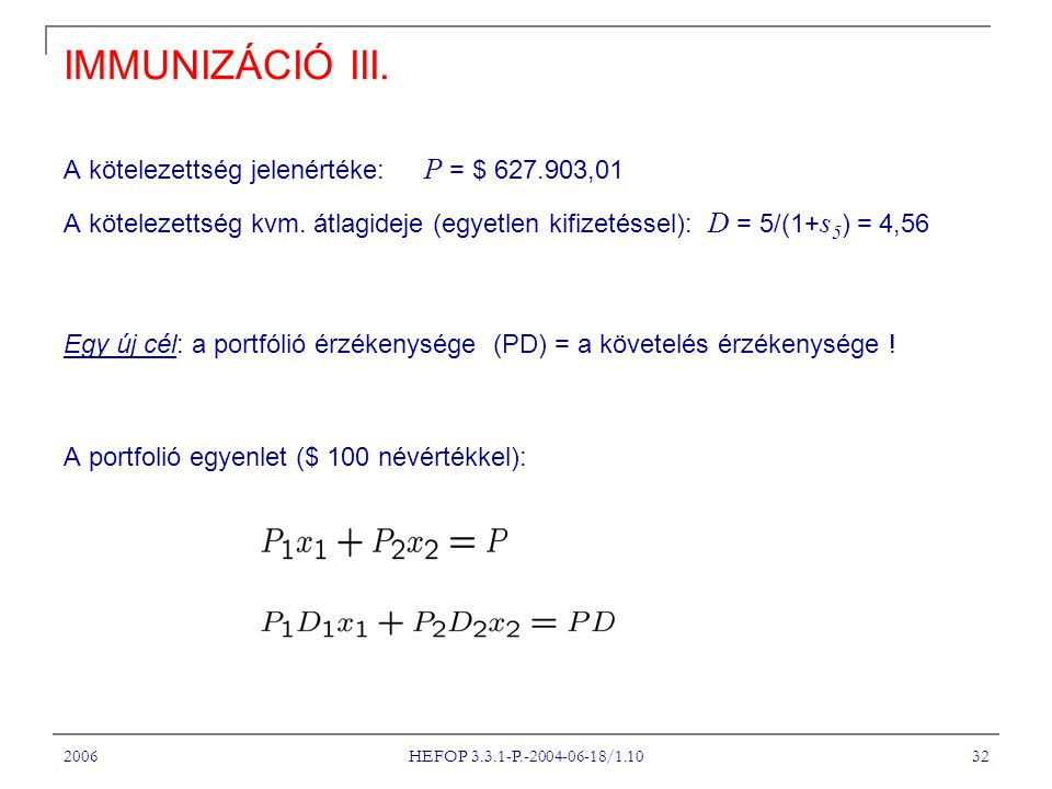 2006 HEFOP 3.3.1-P.-2004-06-18/1.10 32 IMMUNIZÁCIÓ III.
