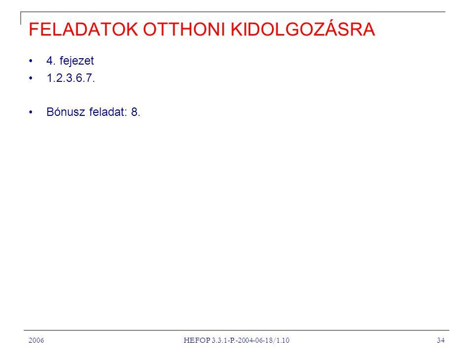 2006 HEFOP 3.3.1-P.-2004-06-18/1.10 34 FELADATOK OTTHONI KIDOLGOZÁSRA 4.