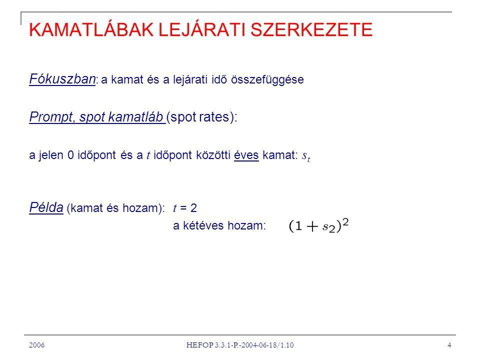 2006 HEFOP 3.3.1-P.-2004-06-18/1.10 4 KAMATLÁBAK LEJÁRATI SZERKEZETE Fókuszban : a kamat és a lejárati idő összefüggése Prompt, spot kamatláb (spot rates): a jelen 0 időpont és a t időpont közötti éves kamat: s t Példa (kamat és hozam): t = 2 a kétéves hozam: