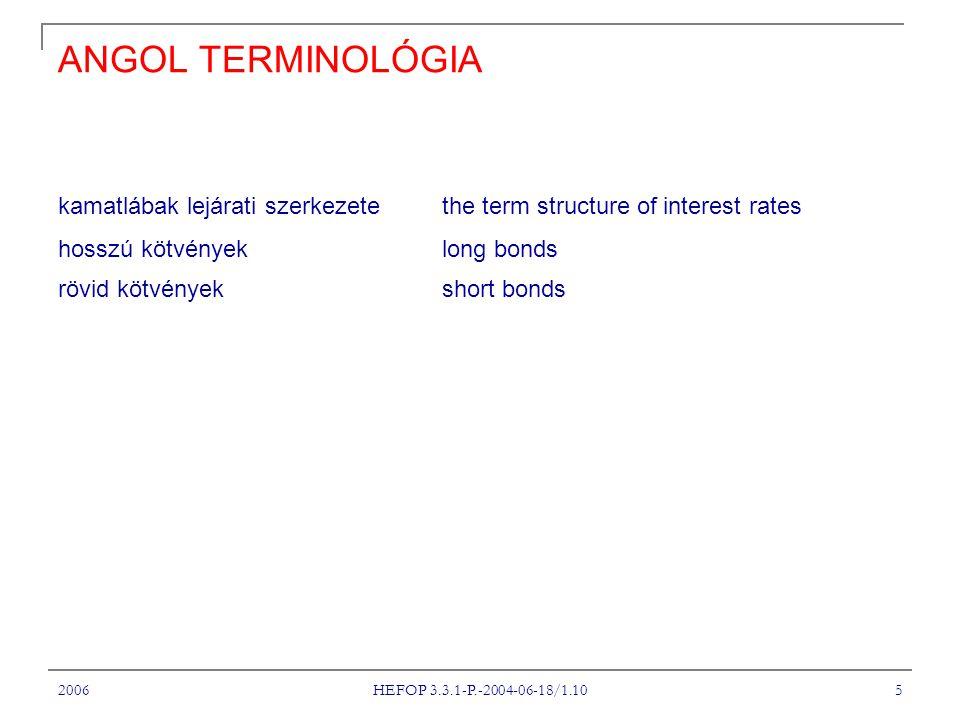 2006 HEFOP 3.3.1-P.-2004-06-18/1.10 5 ANGOL TERMINOLÓGIA kamatlábak lejárati szerkezete the term structure of interest rates hosszú kötvények long bonds rövid kötvények short bonds