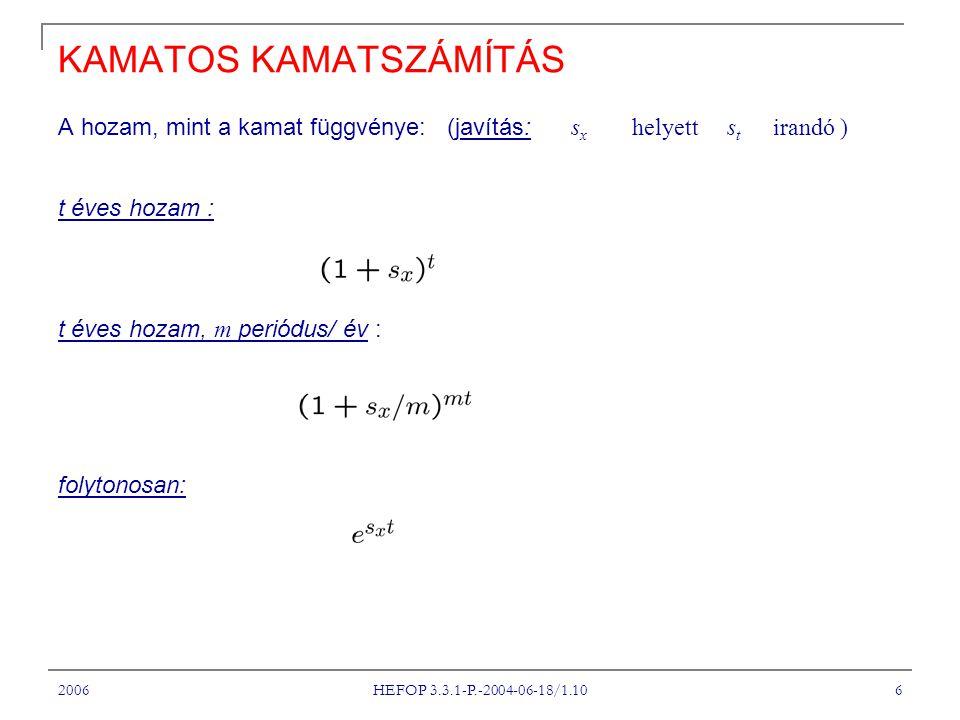 2006 HEFOP 3.3.1-P.-2004-06-18/1.10 6 KAMATOS KAMATSZÁMÍTÁS A hozam, mint a kamat függvénye: (javítás: s x helyett s t irandó ) t éves hozam : t éves hozam, m periódus/ év : folytonosan: