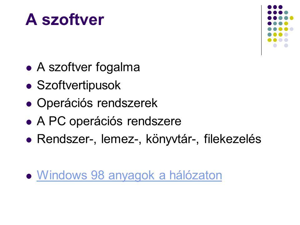 A szoftver A szoftver fogalma Szoftvertipusok Operációs rendszerek A PC operációs rendszere Rendszer-, lemez-, könyvtár-, filekezelés Windows 98 anyag