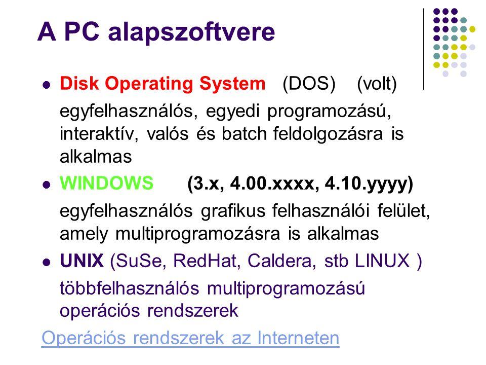 A PC alapszoftvere Disk Operating System (DOS) (volt) egyfelhasználós, egyedi programozású, interaktív, valós és batch feldolgozásra is alkalmas WINDO