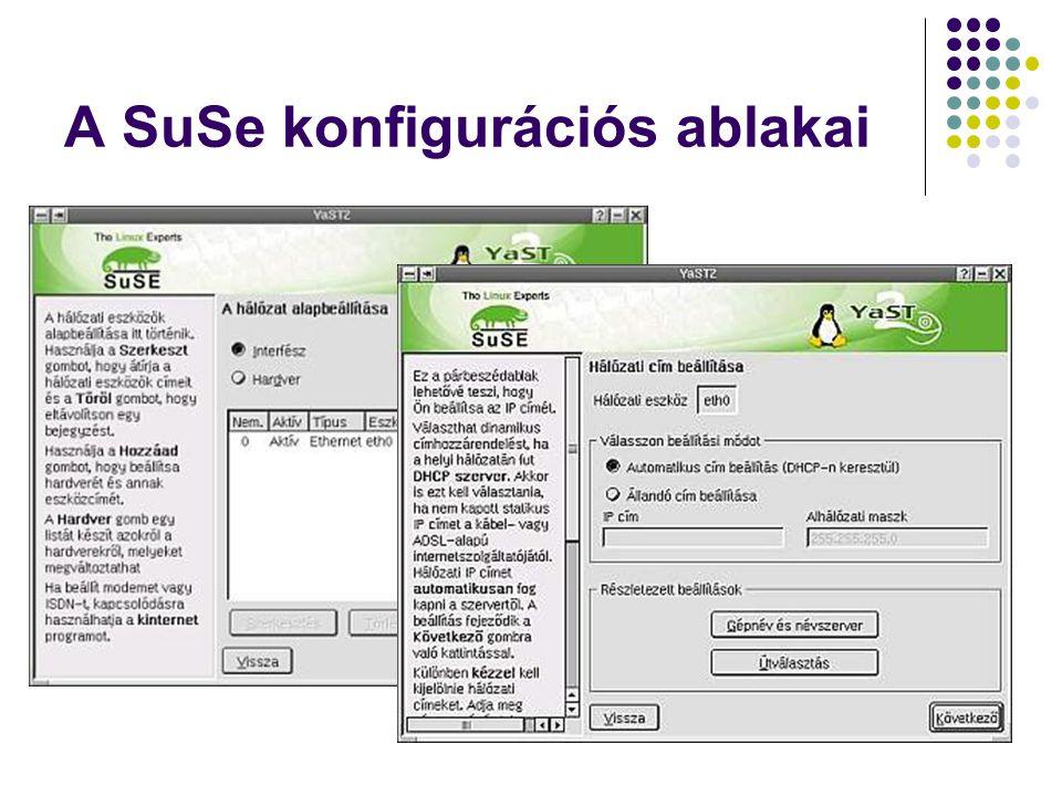 A SuSe konfigurációs ablakai