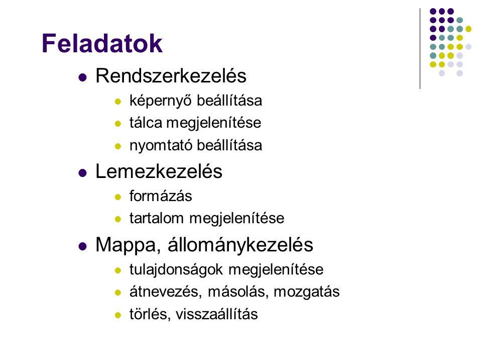 Feladatok Rendszerkezelés képernyő beállítása tálca megjelenítése nyomtató beállítása Lemezkezelés formázás tartalom megjelenítése Mappa, állománykeze