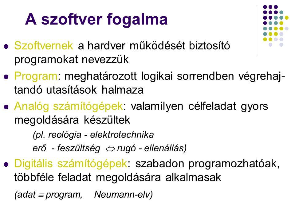 A szoftver fogalma Szoftvernek a hardver működését biztosító programokat nevezzük Program: meghatározott logikai sorrendben végrehaj- tandó utasítások