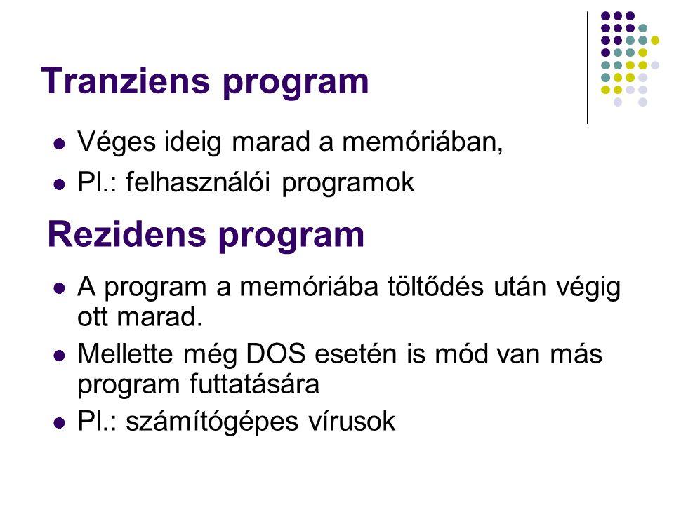 Tranziens program A program a memóriába töltődés után végig ott marad. Mellette még DOS esetén is mód van más program futtatására Pl.: számítógépes ví