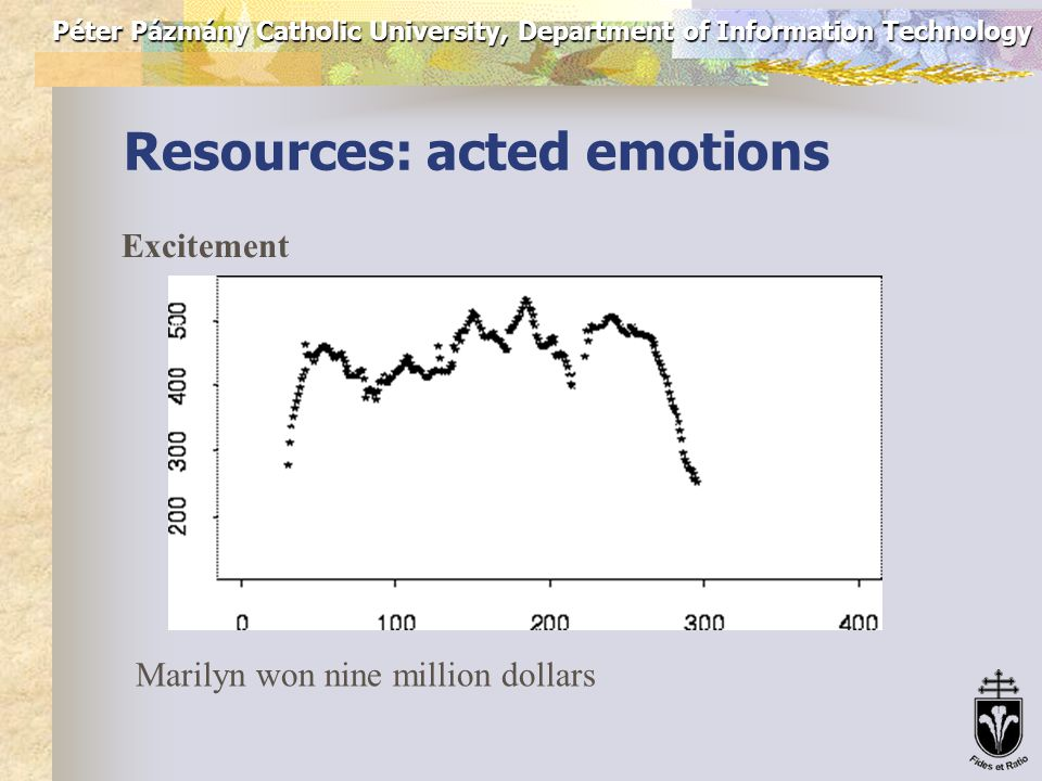 Péter Pázmány Catholic University, Department of Information Technology Resources: acted emotions Neutral (declarative) Marilyn won nine million dollars