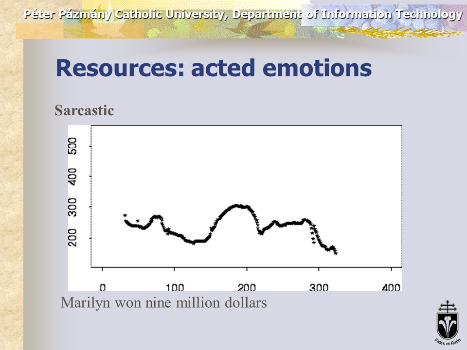 Péter Pázmány Catholic University, Department of Information Technology Resources: acted emotions Cold anger Marilyn won nine million dollars