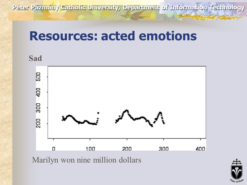 Péter Pázmány Catholic University, Department of Information Technology Resources: acted emotions Impatient Marilyn won nine million dollars
