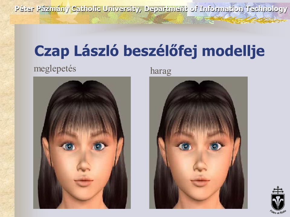 Péter Pázmány Catholic University, Department of Information Technology Resources: acted emotions Sad Marilyn won nine million dollars