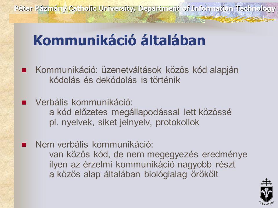 Péter Pázmány Catholic University, Department of Information Technology Kommunikáció általában Kommunikáció: üzenetváltások közös kód alapján kódolás és dekódolás is történik Verbális kommunikáció: a kód előzetes megállapodással lett közössé pl.