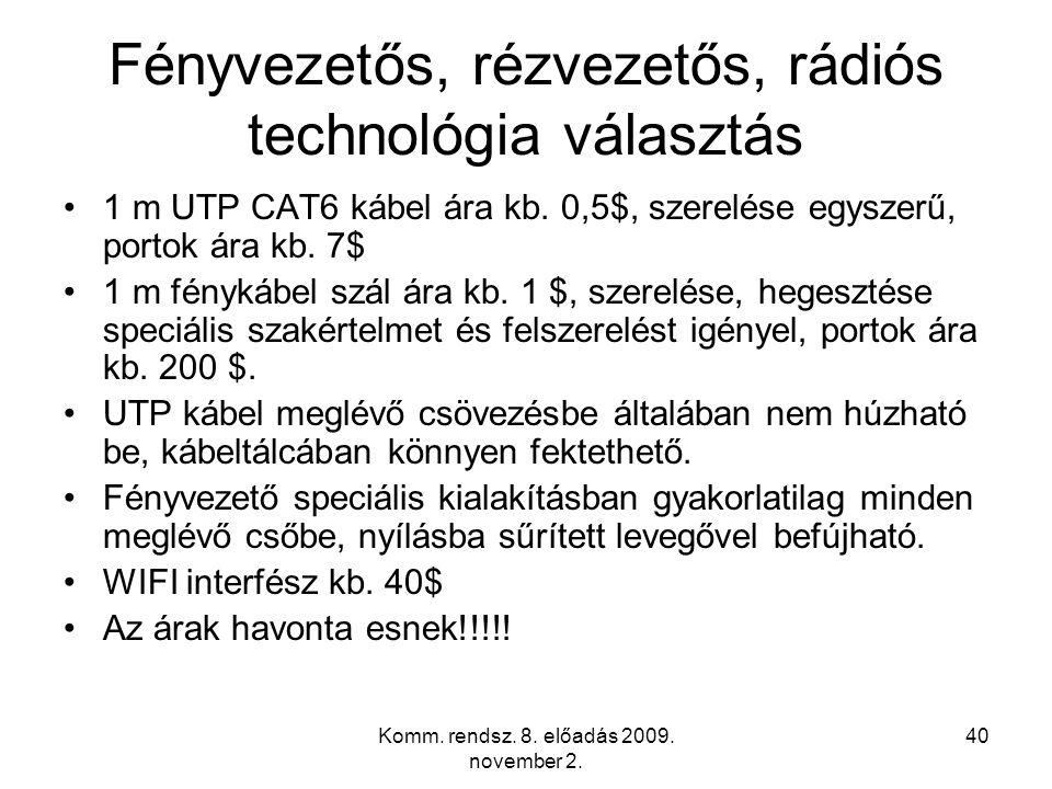 Komm. rendsz. 8. előadás 2009. november 2.