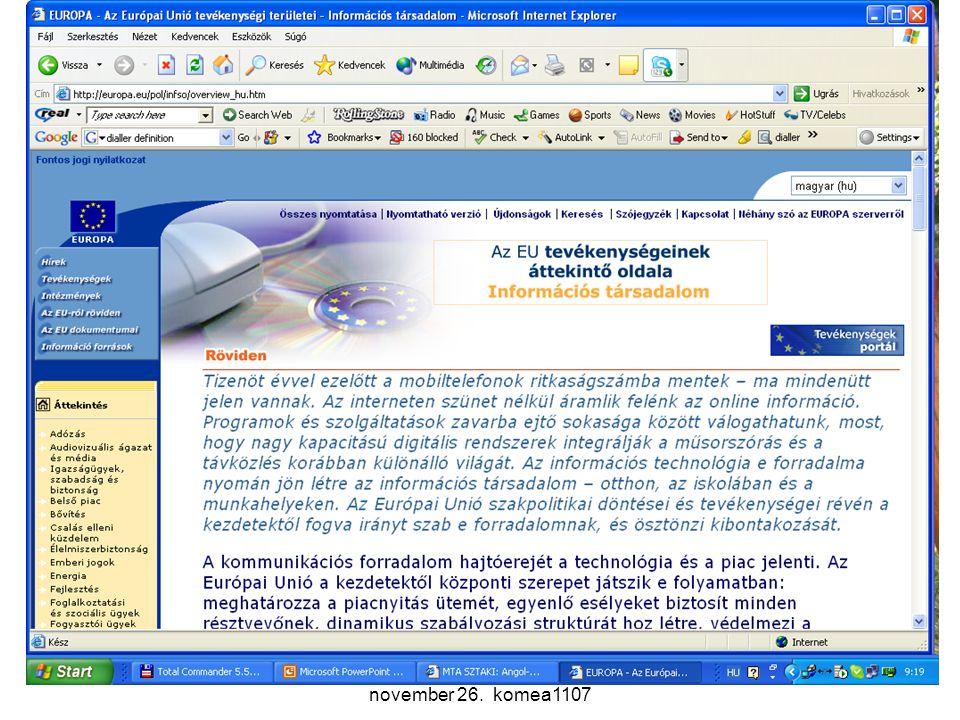 Komm. rendsz. 11. előadás 2007. november 26. komea1107 30