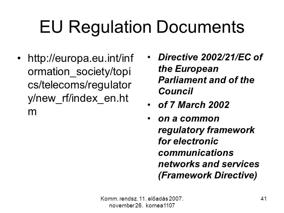 Komm. rendsz. 11. előadás 2007. november 26. komea1107 41 EU Regulation Documents http://europa.eu.int/inf ormation_society/topi cs/telecoms/regulator
