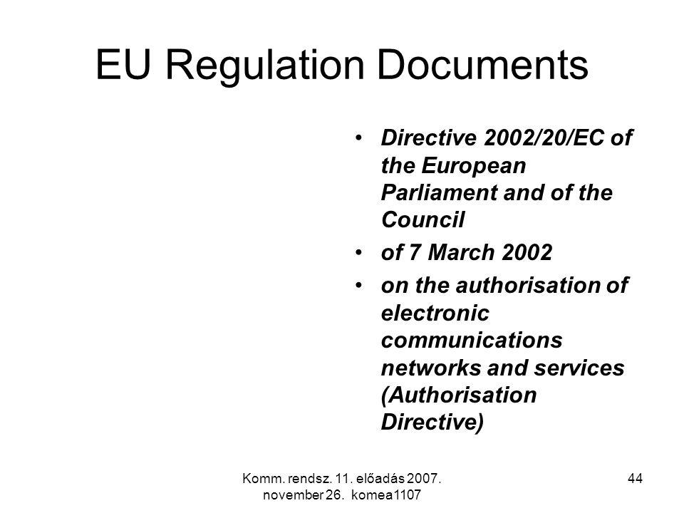 Komm. rendsz. 11. előadás 2007. november 26. komea1107 44 EU Regulation Documents Directive 2002/20/EC of the European Parliament and of the Council o