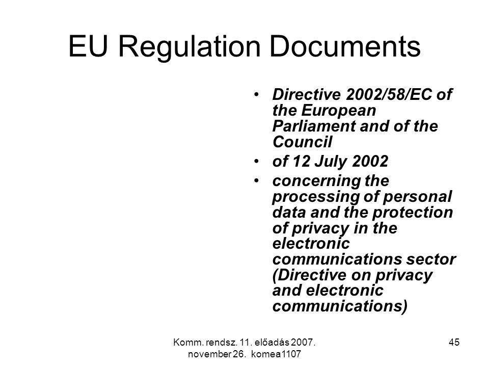 Komm. rendsz. 11. előadás 2007. november 26. komea1107 45 EU Regulation Documents Directive 2002/58/EC of the European Parliament and of the Council o