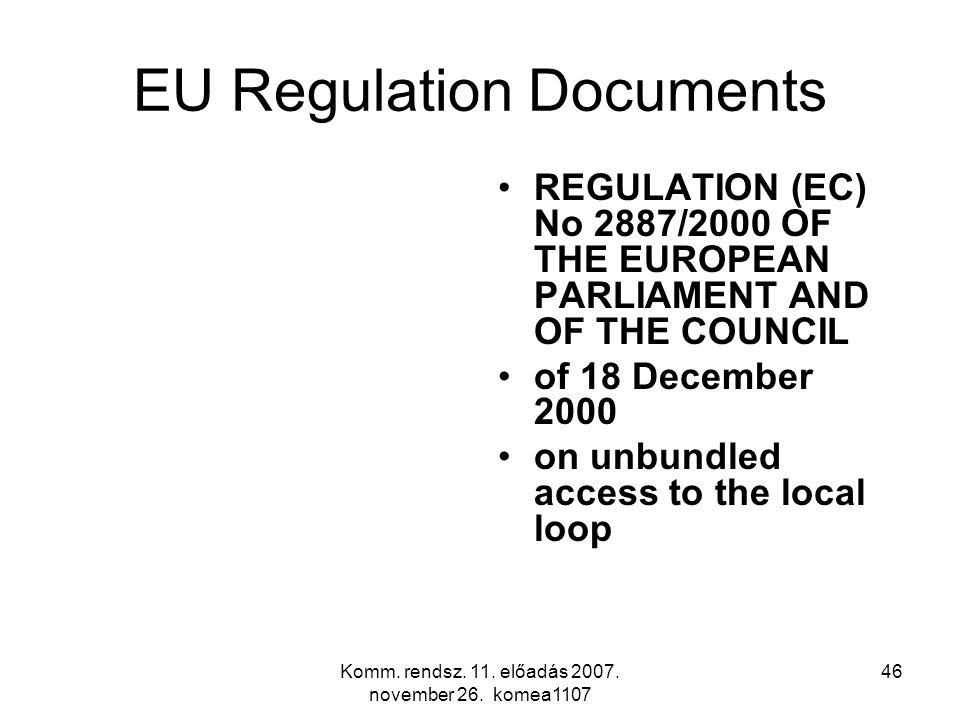 Komm. rendsz. 11. előadás 2007. november 26. komea1107 46 EU Regulation Documents REGULATION (EC) No 2887/2000 OF THE EUROPEAN PARLIAMENT AND OF THE C